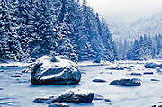 Winter Snowfall on the Chilkat River in the Tongass National Forest