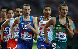 July 14, 2018 - London, United Kingdom - L-R Clayton Murphy of USA  and Reinhart van Rensburg of South Africa compete in the 800m  Men during Athletics World Cup London 2018 at London Stadium, London, on 14 July 2018  (Credit Image: © Action Foto Sport/NurPhoto via ZUMA Press)