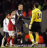 Photo: Paul Thomas.<br /> Tottenham Hotspur v Arsenal. Calring Cup, Semi Final 1st Leg. 24/01/2007.<br /> <br /> The two keepers who let in two goals each shake hands after the game Paul Robinson (L) of Spurs and Manual Almunia.
