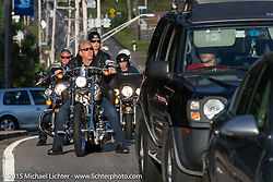 Riding into the Weirs Beach area during Laconia Motorcycle Week. Laconia, NH, USA. June 16, 2015.  Photography ©2015 Michael Lichter.