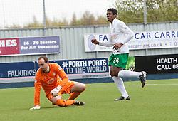 Hibernian's Dominique Malonga scoring their third goal. <br /> Falkirk 0 v 3 Hibernian, Scottish Championship game played at The Falkirk Stadium 2/5/2015.