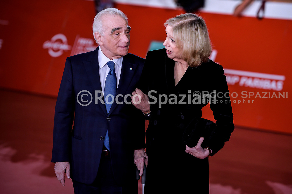 """ROME, ITALY - OCTOBER 21: Martin Scorsese and Helen Morris  attends """"The Irishman"""" red carpet during the 14th Rome Film Festival on October 21, 2019 in Rome, Italy."""