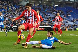 BARCELONA, Dec. 23, 2017  RCD Espanyol's Pablo Piatti (R) vies with Atletico de Madrid's Stefan Savic during a Spanish league match between RCD Espanyol and Atletico de Madrid in Barcelona, Spain, on Dec. 22, 2017. RCD Espanyol won 1-0. (Credit Image: © Joan Gosa/Xinhua via ZUMA Wire)
