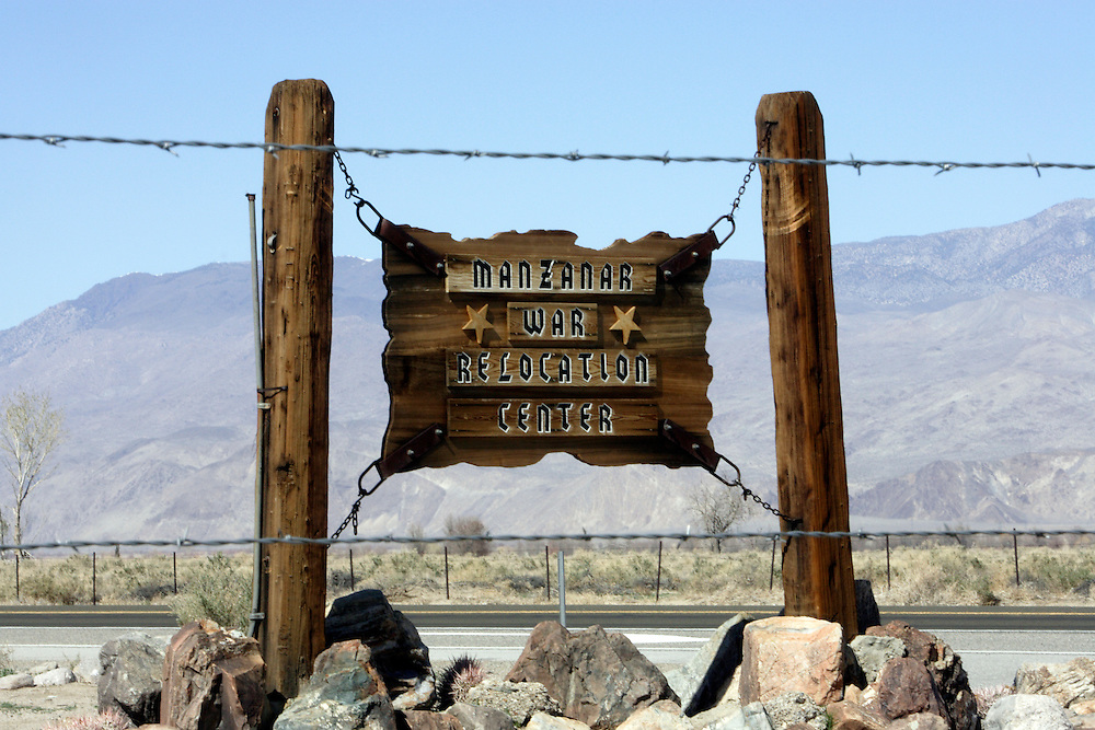 INDEPENDENCE, CA, March 19, 2008: The entrance to Manzanar, one of ten remote War Relocation Centers in the United States where 11,000 Japanese were sent beginning in early 1942 during World War II, is off U.S. 395 in Independence, California. Not trusting those with cultural ties to Japan who had bombed Pearl Harbor, the U.S. Government enclosed a  one square mile, remote area in the Eastern Sierra mountains with barbed wire and erected a mini city complete with churches, barracks, mess halls, hospitals and even baseball fields. A cemetery and graves still adorn the property which is now a National Historic Site.