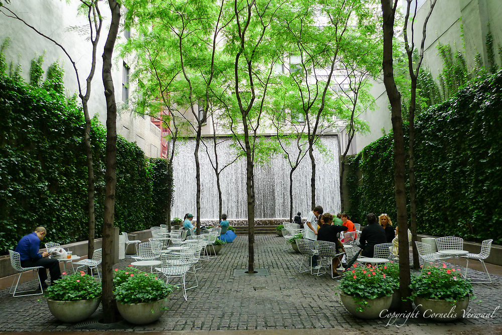 Paley Park, a pocket park located at 3 East 53rd Street in Midtown Manhattan on the former site of the Stork Club. Designed by the landscape architectural firm of Zion & Breen, it opened May 23, 1967.