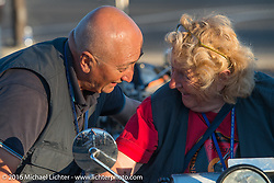 Claudia Ganzaroli on her 1928 Moto Frera with her partner Sante Mazza during Stage 15 (244 miles) of the Motorcycle Cannonball Cross-Country Endurance Run, which on this day ran from Lewiston, Idaho to Yakima, WA, USA. Saturday, September 20, 2014.  Photography ©2014 Michael Lichter.