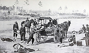 Ambulance Drill in the Field evacuating the wounded from the book ' The Civil war through the camera ' hundreds of vivid photographs actually taken in Civil war times, sixteen reproductions in color of famous war paintings. The new text history by Henry W. Elson. A. complete illustrated history of the Civil war
