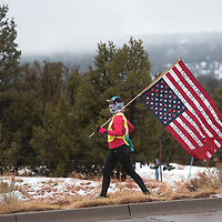Martina Maryboy of Montezuma Creek, Utah participates in the Diné Missing and Murdered Indigenous People Sunrise Prayer Run Tuesday, Jan. 21 in St. Michaels, Arizona. The 250-mile prayer run began in Flagstaff on Friday Jan. 17 and ended in Window Rock Tuesday Jan. 21 at the Navajo Nation Tribal Park.
