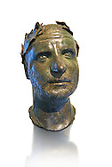 Bronze head of possibly Trebonianus Gallus, 251-253 A.D., inv 15032, Vatican Museum Rome, Italy, white background ..<br /> <br /> If you prefer to buy from our ALAMY STOCK LIBRARY page at https://www.alamy.com/portfolio/paul-williams-funkystock/greco-roman-sculptures.html . Type -    Vatican    - into LOWER SEARCH WITHIN GALLERY box - Refine search by adding a subject, place, background colour, museum etc.<br /> <br /> Visit our CLASSICAL WORLD HISTORIC SITES PHOTO COLLECTIONS for more photos to download or buy as wall art prints https://funkystock.photoshelter.com/gallery-collection/The-Romans-Art-Artefacts-Antiquities-Historic-Sites-Pictures-Images/C0000r2uLJJo9_s0c