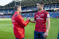 March 30, 2019 - Edinburgh, Scotland, United Kingdom - Munster Head Coach Johann van Graan and Conor Murray celebrate during the Heineken Champions Cup Quarter Final match between Edinburgh Rugby and Munster Rugby at Murrayfield Stadium in Edinburgh, Scotland, United Kingdom on March 30, 2019  (Credit Image: © Andrew Surma/NurPhoto via ZUMA Press)