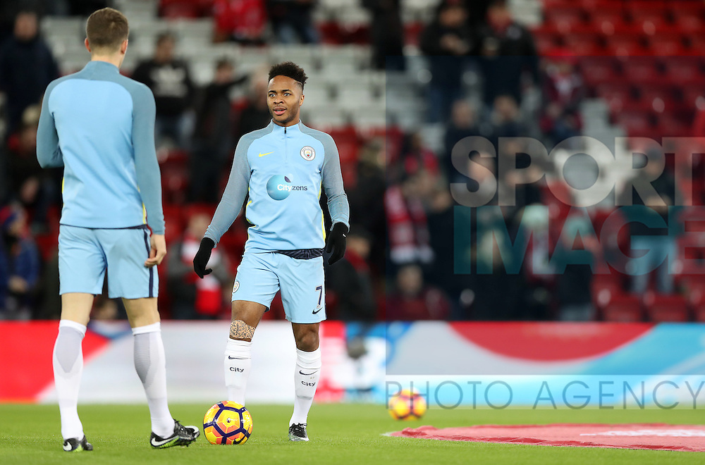 Raheem Sterling of Manchester City before the English Premier League match at Anfield Stadium, Liverpool. Picture date: December 31st, 2016. Photo credit should read: Lynne Cameron/Sportimage
