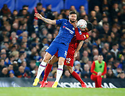 L-R Chelsea's Olivier Giroud and Liverpool's Joe Gomez in action during the English FA Cup fifth round soccer match between Chelsea and Liverpool at Stanford Bridge Stadium, Wednesday, March 3, 2020, in London, United Kingdom. (ESPA-Images/Image of Sport)