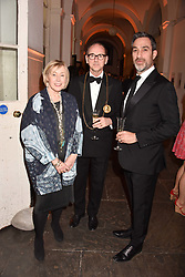 Left to right, Eileen Cooper RA (Keeper of the Royal Academy), Christopher Le Brun PRA (President of the Royal Academy) and Rob Suss (Chair of the RA Schools Dinner and Auction 2017) at The Royal Academy Schools annual dinner and Auction, London England. 14 March 2017.