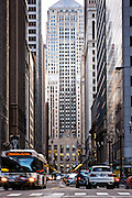 Chicago Board of Trade building from Lasalle Street canyon Chicago, IL.