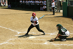 05 April 2008: Kelly Nelson catches a ball that isn't to Jacquelyn Tassone's liking. The Carthage College Lady Reds lost the first game of this double header to the Titans of Illinois Wesleyan 4-1 at Illinois Wesleyan in Bloomington, IL