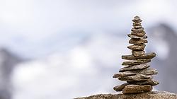 THEMENBILD - ein Steinmännchen am Kitzsteinhorn, aufgenommen am 13. August 2018 in Kaprun, Österreich // a cairn on the Kitzsteinhorn, Kaprun, Austria on 2018/08/13. EXPA Pictures © 2018, PhotoCredit: EXPA/ JFK