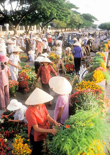 Flower market in street of Danang, Vietnam