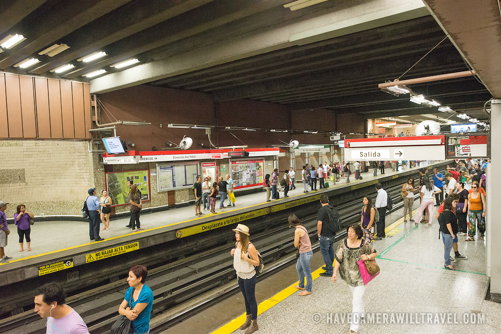 The platform for the metro subway system at Plaza de Armas Metro Station in downtown Santiago de Chile.