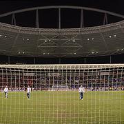 Linesmen check the nets before the Flamengo V  Fluminense, Futebol Brasileirao  League match at Estadio Olímpico Joao Havelange, Rio de Janeiro, The classic Rio derby match ended in a 3-3 draw. Rio de Janeiro,  Brazil. 19th September 2010. Photo Tim Clayton