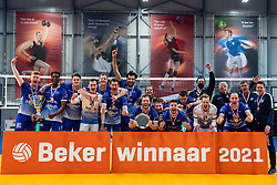 Lycurgus win 3-1 and celebrate after the cupfinal between Amysoft  Lycurgus vs. Draisma Dynamo on April 18, 2021 in sports hall Alfa College in Groningen