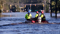 New York Urban Search and Rescue team members evaluate a flooded section of Bragg Boulevard in Spring Lake, N.C., Tuesday September 18, 2018. Photo by Julia Wall/Raleigh News & Observer/TNS/ABACAPRESS.COM