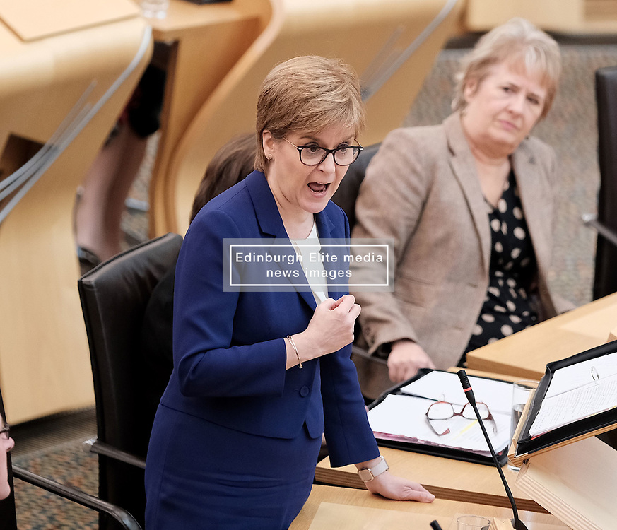 First Minister's Questions in the Scottish Parliament<br /> <br /> Thursday, 19th September 2019<br /> <br /> Pictured: First Minister Nicola Sturgeon MSP<br /> <br /> Alex Todd   Edinburgh Elite media