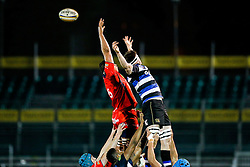 Bristol United Lock Ben Glynn competes at a lineout with Bath United Lock Pat Jenkinson - Mandatory byline: Rogan Thomson/JMP - 28/12/2015 - RUGBY UNION - The Recreation Ground - Bath, England - Bath United v Bristol United - Aviva A League.