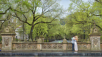 A loving couple at Bethesda Terrace in Central Park, with a view of the American Elms on The Mall.