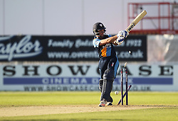 CF Hughes of Derbyshire Falcons is bowled out by AD Russell of Notts Outlaws  (Not Pictured) - Mandatory by-line: Jack Phillips/JMP - 24/06/2016 - CRICKET - The 3aaa County Ground - Derby, United Kingdom - Derbyshire Falcons v Notts Outlaws - Natwest T20 Blast
