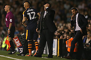 Rafa Benitez, the Newcastle United manager reacts as he holds his head while looking on from the touchline. Skybet EFL championship match, Fulham v Newcastle Utd at Craven Cottage in Fulham, London on Friday 5th August 2016.<br /> pic by John Patrick Fletcher, Andrew Orchard sports photography.