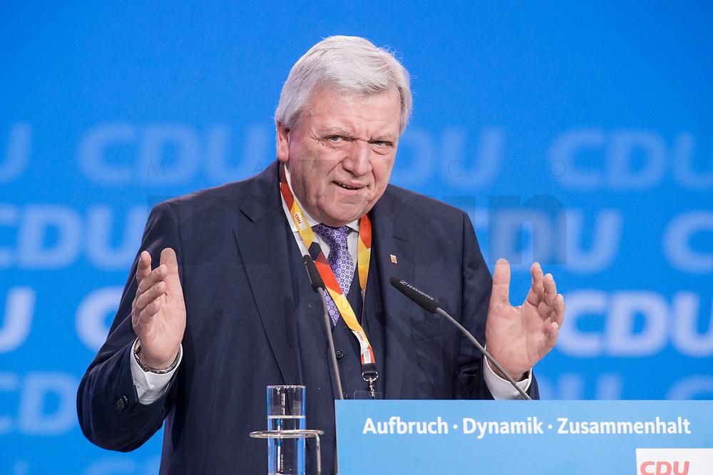 26 FEB 2018, BERLIN/GERMANY:<br /> Volker Bouvier, CDU, Ministerpraesident Hessen, CDU Bundesparteitag, Station Berlin<br /> IMAGE: 20180226-01-115<br /> KEYWORDS: Party Congress, Parteitag