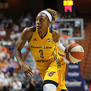 UNCASVILLE, CONNECTICUT- JUNE 5:  Tiffany Mitchell #3 of the Indiana Fever drives to the basket during the Indiana Fever Vs Connecticut Sun, WNBA regular season game at Mohegan Sun Arena on June 3, 2016 in Uncasville, Connecticut. (Photo by Tim Clayton/Corbis via Getty Images)