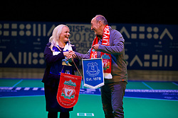 LIVERPOOL, ENGLAND - Wednesday, August 15, 2018: Everton's Chief Executive Professor Denise Barrett-Baxendale (left) and Liverpool FC's Chief Executive Peter Moore (right) swap pennants after playing a round of Boccia at the BISFed 2018 Word Boccia Championships in the Liverpool Exhibition Centre. Liverpool won 3-1. (Pic by David Rawcliffe/Propaganda)