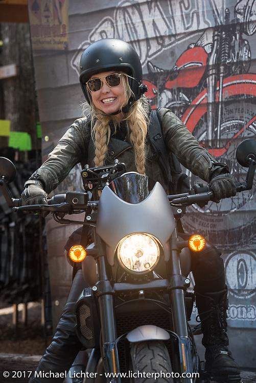 Iron Lilies Leticia Cline on a new 2017 Harley-Davidson 750 Street Rod at the Broken Spoke Saloon during Daytona Beach Bike Week. Ormond Beach, FL. USA. Tuesday, March 14, 2017. Photography ©2017 Michael Lichter.