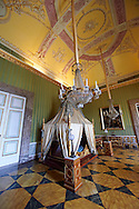 """""""The bedroom of Joachim Murat""""  is decorated in the Empire style and comes from the Royal Palace of Portici, the favourite palace of  Joachim Murat and Caroline Bonaparte. The bed is mahogany designed by French Architedt Leconte.   The Bourbon Kings of Naples Royal Palace of Caserta, Italy. .<br /> <br /> Visit our ITALY HISTORIC PLACES PHOTO COLLECTION for more   photos of Italy to download or buy as prints https://funkystock.photoshelter.com/gallery-collection/2b-Pictures-Images-of-Italy-Photos-of-Italian-Historic-Landmark-Sites/C0000qxA2zGFjd_k<br /> <br /> <br /> Visit our EARLY MODERN ERA HISTORICAL PLACES PHOTO COLLECTIONS for more photos to buy as wall art prints https://funkystock.photoshelter.com/gallery-collection/Modern-Era-Historic-Places-Art-Artefact-Antiquities-Picture-Images-of/C00002pOjgcLacqI"""