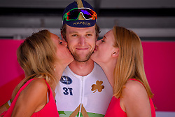 July 28, 2018 - Les Bons Villers, BELGIUM - Irish Conor Dunne of Aqua Blue Sport pictured on the podium as he receives the price of most combative rider after the first stage of the Tour De Wallonie cycling race, 193,4 km from La Louviere to Les Bons Villers, on Saturday 28 July 2018. BELGA PHOTO LUC CLAESSEN (Credit Image: © Luc Claessen/Belga via ZUMA Press)
