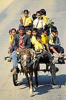 """Nepal - Region du Teraï - Retour des écoliers en """"taxi"""" collectif"""