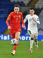 Football - 2020/2021 UEFA Nations League - Group B4 - Wales vs Republic of Ireland - Cardiff City Stadium<br /> <br /> David Brooks of Wales on the attack chased by Jason Knight of Republic of Ireland<br /> in a match played without fans<br /> <br /> COLORSPORT/WINSTON BYNORTH