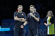 Doubles Winners Bob Bryan and Mike Bryan during the Mens Doubles Final of the Barclays ATP World Tour Finals, O2 Arena, London, United Kingdom on 16 November 2014 © Pro Sports Images