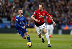 Manchester United's Nemanja Matic in action with Leicester City's James Maddison
