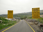 Israel, Golan Heights. The Syrian Israeli border fence as seen from the Israeli side