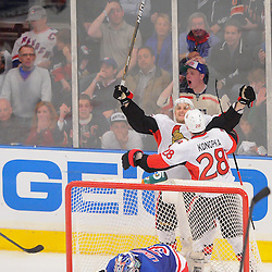 April 14, 2012: Ottawa Senators left wing Nick Foligno (71) celebrates his goal on New York Rangers goalie Henrik Lundqvist (30) during third period action in Game 2 of the NHL Eastern Conference Quarter-finals between the Ottawa Senators and New York Rangers at Madison Square Garden in New York, N.Y.