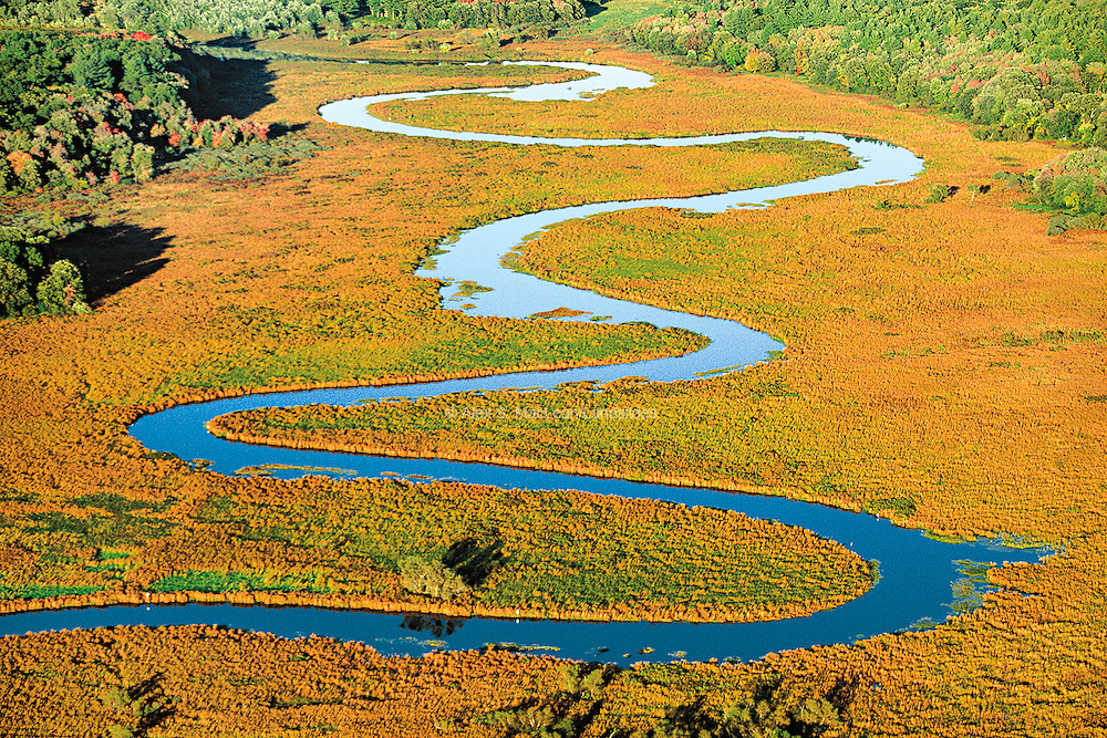 The Sudbury River runs through wetlands in the Great Meadows Wildlife Preserve.