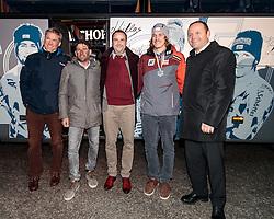 25.02.2017, Fieberbrunn, AUT, FIS Weltmeisterschaften Ski Alpin, St. Moritz 2017, Empfang Feller, im Bild v.l. ÖSV Trainer Paul Schwarzacher Joyce, ÖSV Trainer Marco Pfeifer, Bürgermeister Dr. Walter Astner, Manuel Feller (AUT), Lanndeshauptmann Stv. Josef Geisler // during the receiving of Manuel Feller after the Alpine Ski Wolrd Championships in St. Moritz in Fieberbrunn, Austria on 2017/02/25. EXPA Pictures © 2017, PhotoCredit: EXPA/ Johann Groder