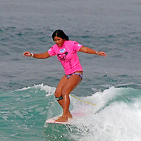 Megan Godinez, quarter finalist at the 3rd Annual Roxy Jam Linda Benson Women's World Longboard Professional, 2008, Cardiff by the Sea, California.