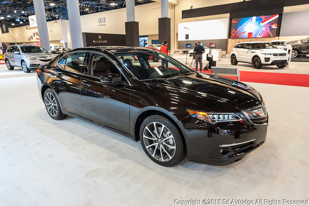 MIAMI BEACH, FL, USA - NOVEMBER 6, 2015: Acura TLX on display during the 2015 Miami International Auto Show at the Miami Beach Convention Center in downtown Miami Beach.