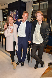Left to right, KATE WINSER, OLIVER DOWNING and ALAN POWNALL at a party to celebrate the opening of Mappin & Webb's Flagship Regent Street Boutique at 132 Regent Street, London on 28th June 2016.