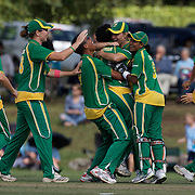 South Africa celebrate the run out of Haidee Tiffen  during the South Africa  V New Zealand group A match at Bradman Oval in the ICC Women's World Cup Cricket Tournament, in Bowral, Australia on March 12, 2009. New Zealand won the match by 199 runs. Photo Tim Clayton