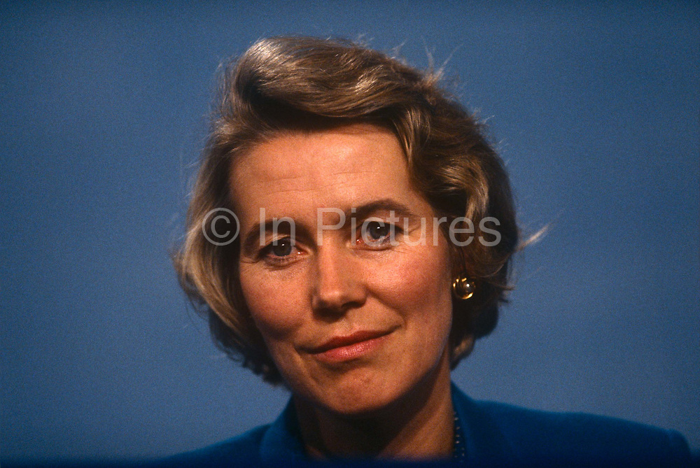 Minister of State for Health and Conservative MP, Virginia Bottomley at the Conservative party conference on 11th October 1991 in Blackpool, England. Virginia Hilda Brunette Maxwell Bottomley, Baroness Bottomley of Nettlestone, PC, DL née Garnett, born 12 March 1948 is a British Conservative Party politician. She was a Member of Parliament MP in the House of Commons from 1984 to 2005. She was raised to the peerage in 2005.