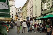 Europe, Slovakia, capitol city - Bratislava.  Michalska pedestrian zone with Michael tower..